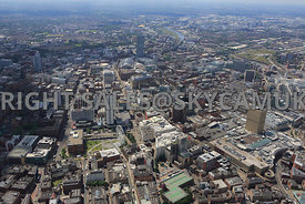 Manchester wide angle view looking across the city from a northerly direction towards Piccadilly Gardens with High Street loo...
