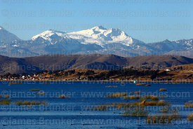 View across Inner Lake to Mt Chachacomani, Lake Titicaca , Bolivia