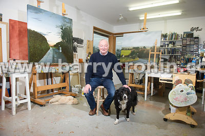 13th November, 2014.Artist Martin Gale photographed with two of his pieces 'Halloween, out early' (left) and 'The way in' (ri...