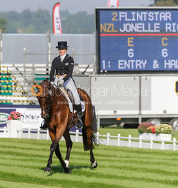 Jonelle Richards and FLINTSTAR - dressage phase,  Land Rover Burghley Horse Trials, 5th September 2013.