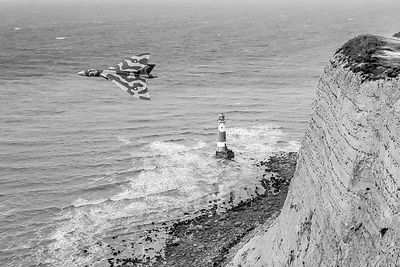 Vulcan passing Beachy Head BW version