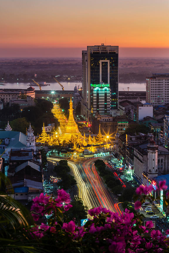 Elevated View of Yangon Skyline and Sule Pagoda from the Sakura Tower