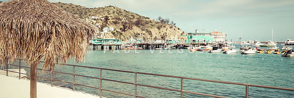 Catalina Island Tiki Umbrella Retro Panorama Photo