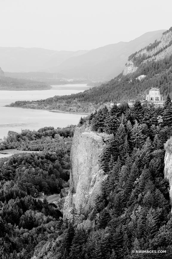 VISTA HOUSE CROWN POINT FROM CHANTICLEER POINT COLUMBIA RIVER GORGE OREGON BLACK AND WHITE VERTICAL