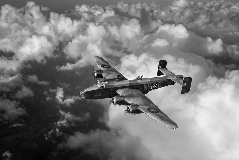 Handley Page Halifax B III above clouds BW version