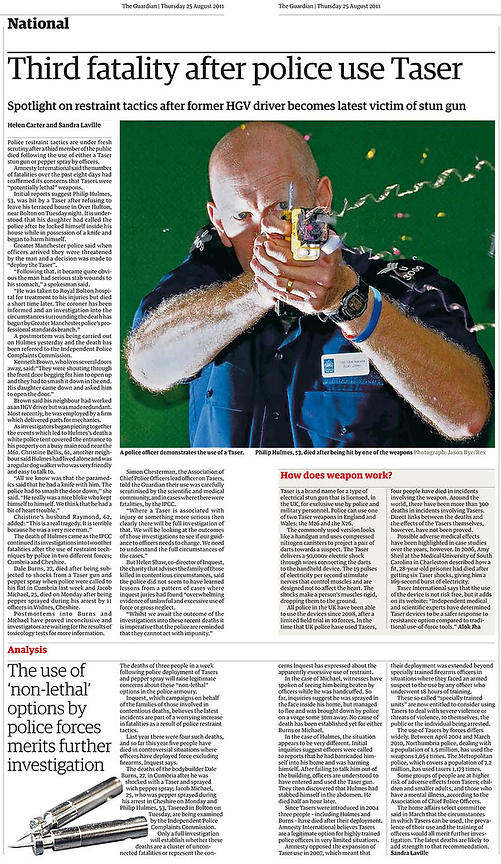 Guardian 25th August 2011.Tazer fatality clipping.Photography by Jason Bye.Credit Mandatory.t:  07966 173 930.e: mail@jasonby...