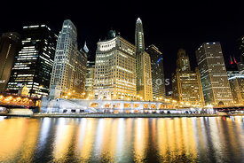 Wacker Drive Buildings at Night in Chicago