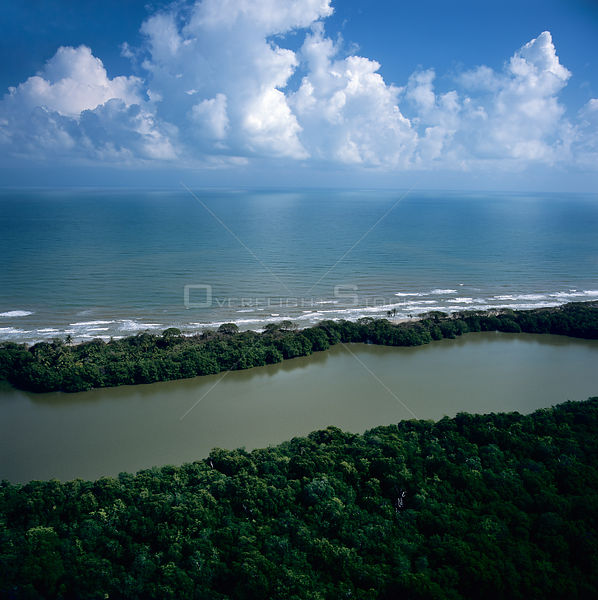 Aerial view of river flowing from Brus Lagoon into the Caribbean sea, Mosquitio coast, Honduras, Central America 2006