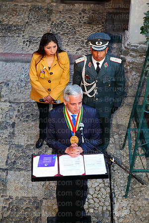 The Bolivian vice president Alvaro Garcia Linera makes a speech during ceremonies for the reading of the Proclamation of the ...