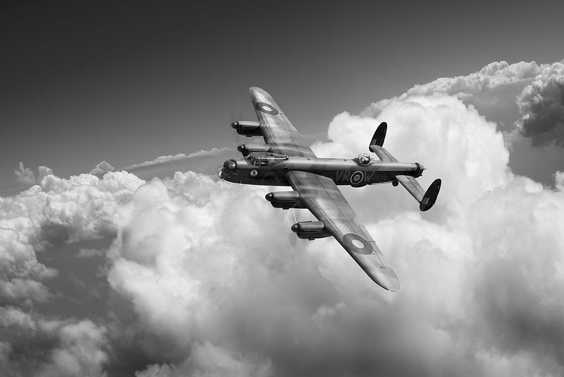 Lancaster KB799 above clouds BW version