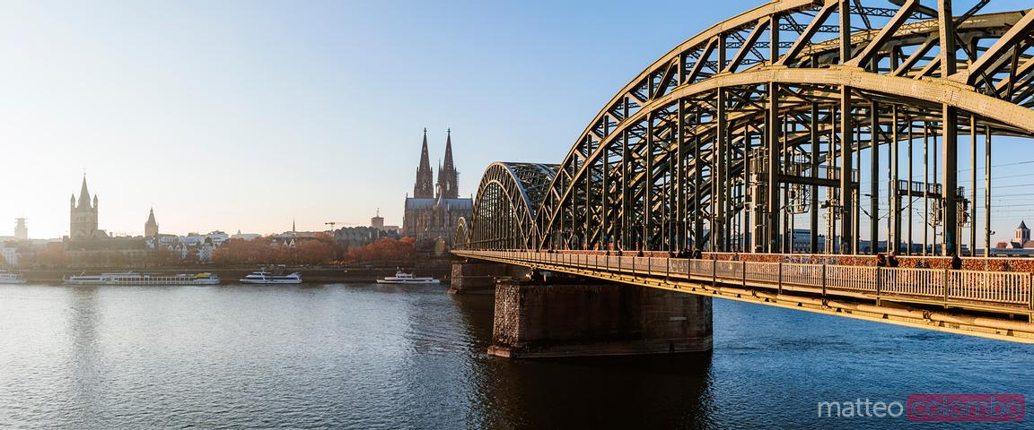 Panoramic of bridge and river, Cologne, Germany