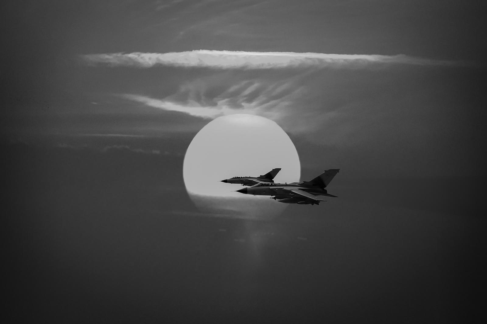 Gulf War sunset departure BW version