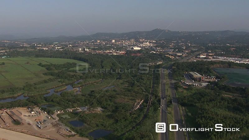 Aerial shot of a busy highway Nelspruit Mpumalanga South Africa