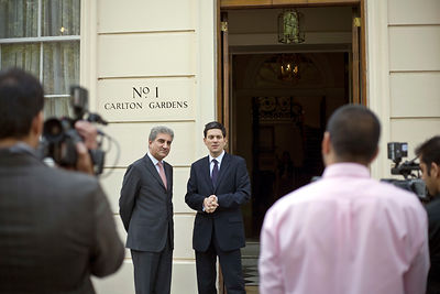 UK - London - David Miliband and the Pakistani Foreign Minister