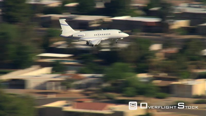 Air-to-air view of executive jet landing