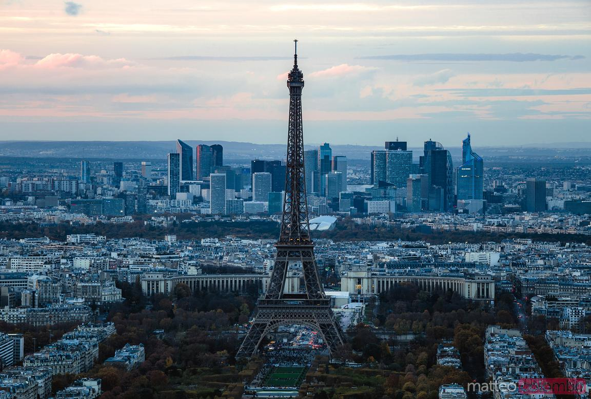 Eiffel tower and skyline at sunset, Paris, France