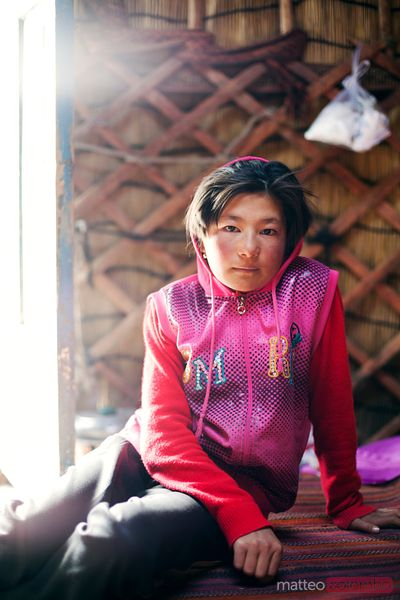 Kyrgyz young girl inside a yurt, China