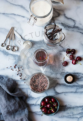 Ingredients for a cherry soda cocktail.