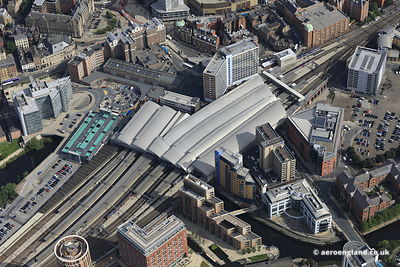 aerial photograph of Leeds railway station , also known as Leeds City railway station