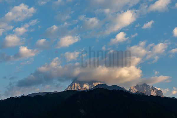 Clouds Over Mt Ushba at Dawn