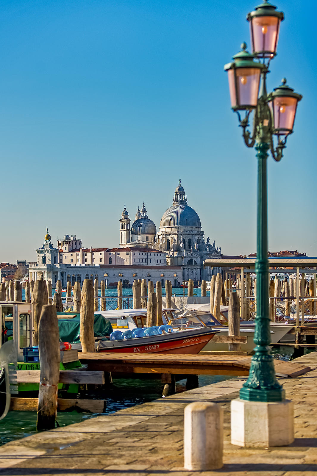 View of Santa Maria della Salute and streetlamp from San Marco, Venice