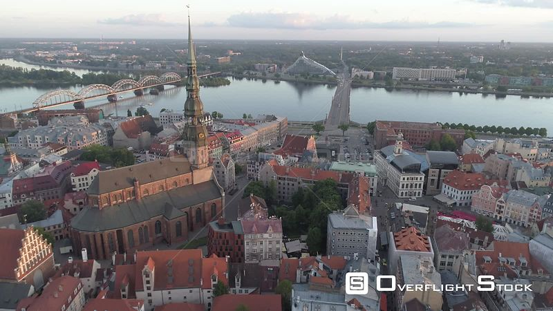 Aerial drone flyby shot of Riga Old town