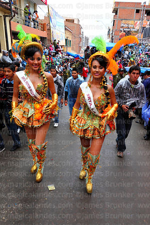 Miss Potosi and Miss La Paz carnival queens dancing as Chinitas during the Morenada, Oruro Carnival, Bolivia