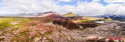 Aerial panoramic view of lava field, Snaefellsnes, Iceland