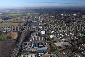 Skelmersdale high level aerial view of junction 4 M58 motorway looking down Gillibrand road showing the Industrial Estate