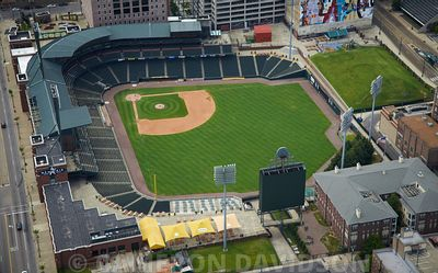 Aerial photograph of AutoZone Park, a baseball stadium in Memphis, Tennessee.