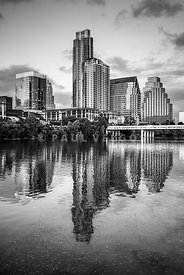 Austin Skyline Reflection in Black and White