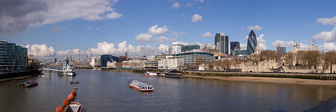 A view of the Financial Center of London and the River Thames London England
