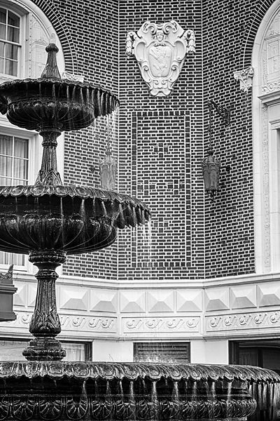 Fountain & architectural details at the Poinsett Hotel in downtown Greenville, SC