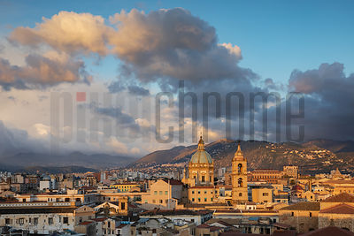 Elevated View of the Skyline of Palermo at Dawn