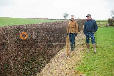 Zoe Gibson and Richard Walker assess the open ditch hedge