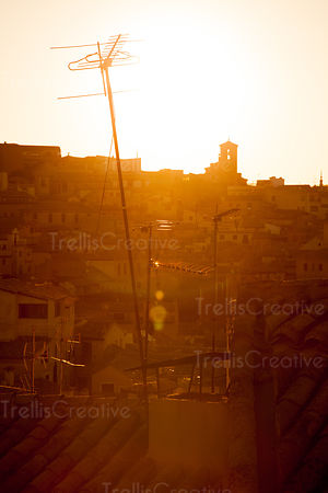 Spanish tile rooftops at sunrise in Toledo, Spain