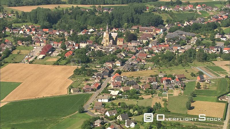 Flying past a village in East Flanders, Belgium