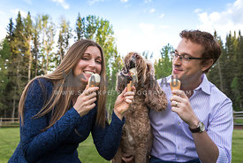 Doodle Dog eats ice cream with people