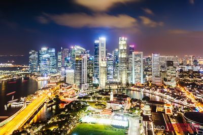 Elevated view of business district at night, Singapore