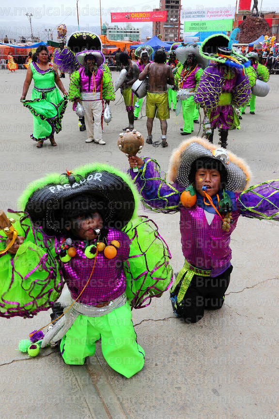 Young Rey Morenos and African slave Negritos / Tundiqui dancers, Oruro Carnival, Bolivia