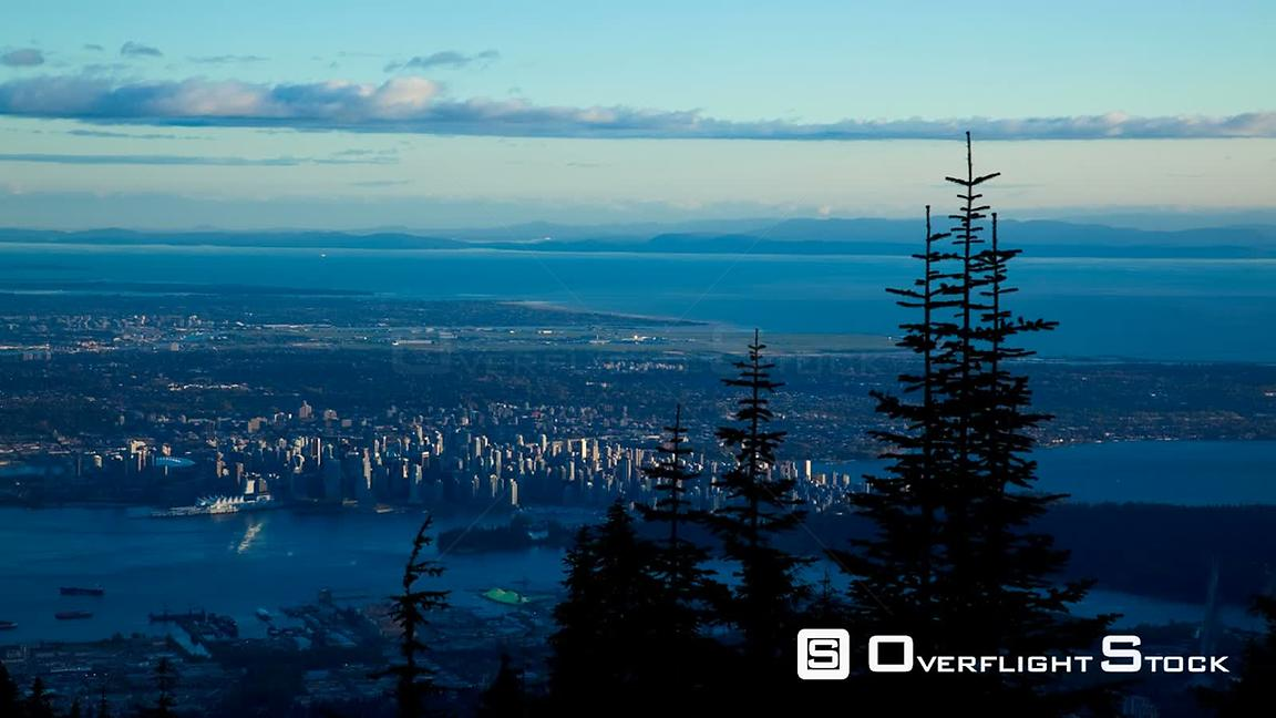 Time lapse of Vancouver BC from Grouse Mountain.