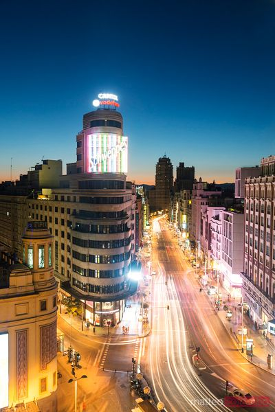 Gran Via and plaza de Callao cityscape at night, Madrid, Spain