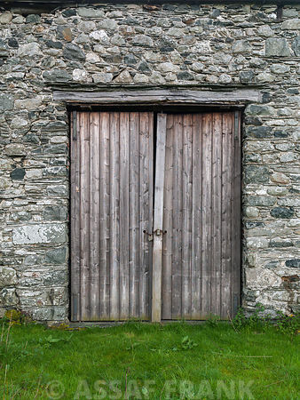 Wooden door on old cottage