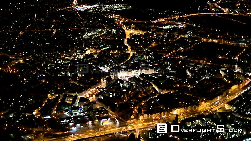Night aerial video downtown in downtown area in Halle Saale in the state of Saxony-Anhalt, Germany