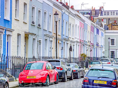 Multicoloured houses, Notting Hill, London
