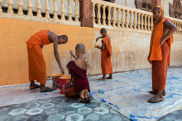 Monks Painting a Wall at a Pagoda