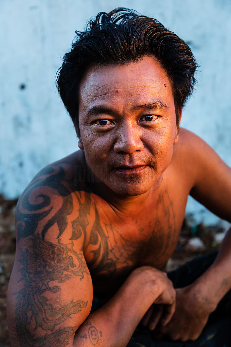 Portrait of a Dockside Worker at the Yangon Wharf