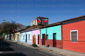 Typical painted houses in Copiapó, Region III, Chile