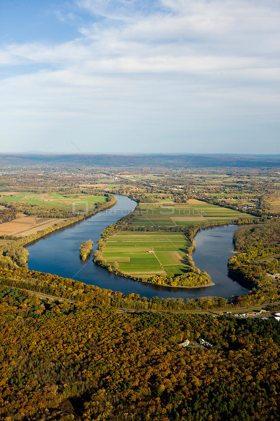 Aerial view of a meander in the Connecticut River, farmland and woodlands, Hadley, nr Northampton, Massachusetts, USA, Novemb...
