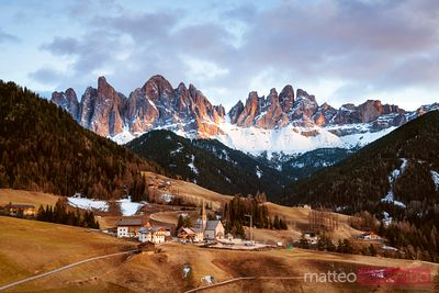 Sunset over Funes valley, Dolomites, Italy